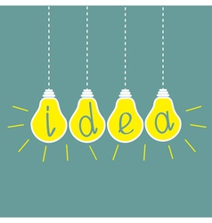 Four hanging yellow light bulbs idea concept vector