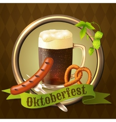Beer mugs octoberfest poster vector