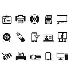 Black office technology icons set vector