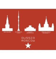 Russia moscow city shape silhouette icon set -red vector