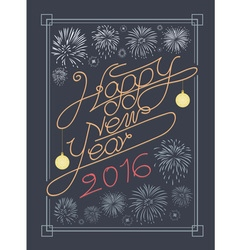 Happy new year typography and fire work design vector
