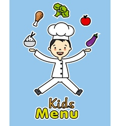 Boy chef with healthy food vector