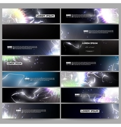 Set of modern banners electric lighting effect vector
