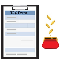 Tax form and red purse vector