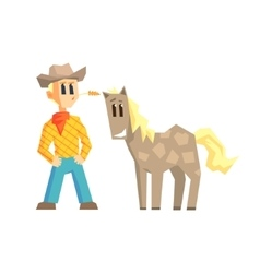 Guy and dappled horse vector