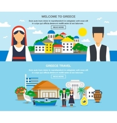 Greece travel banner set vector