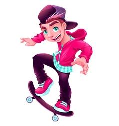 Happy skater boy vector image
