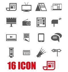 Grey advertisement icon set vector