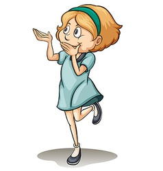 A girl standing on one leg vector image vector image