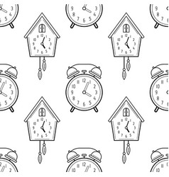 alarm clock and cuckoo clock black and white vector image