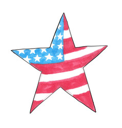 american flag in the shape of a star hand-drawn vector image vector image