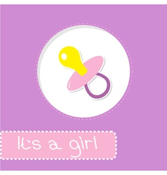 Baby girl pacifier shower card vector