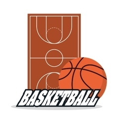 Ball and league of basketball sport design vector