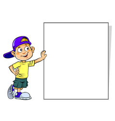 Boy with a blank sign vector
