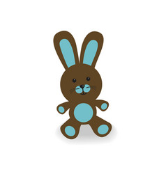 brown and blue bunny vector image vector image