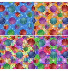 Christmas backgrounds with gifts and balls vector image vector image