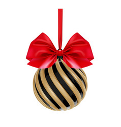 Christmas ball in black and gold color with red vector