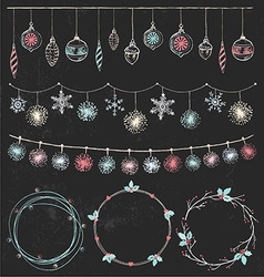 Christmas Garlands and Wreaths Set vector image vector image