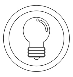 Colored lightbulb inside circle icon vector