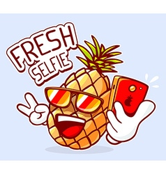 colorful hipster pineapple with sunglasse vector image vector image