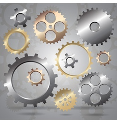 Connected gear cogs metal silhouette vector image