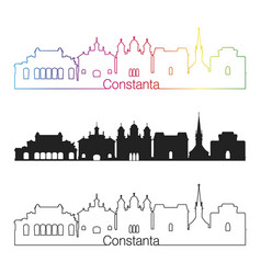 Constanta skyline linear style with rainbow vector