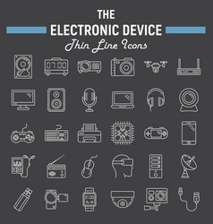 Electronic device line icon set technology vector