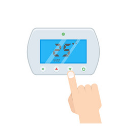 Electronic thermostat with hand which is pressing vector