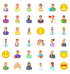 job icons set cartoon style vector image vector image