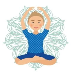 Kids yoga pose child doing vector