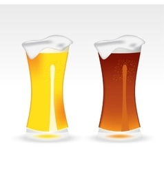 Light and dark beer in a tall glass vector image vector image