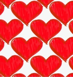 Marker drawn red hatched hearts vector image