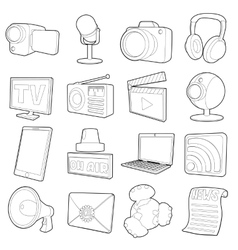 Media channels icons set cartoon outline style vector