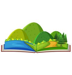 mountain scene and river in the book vector image