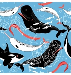 Pattern of sea whales and fish vector image