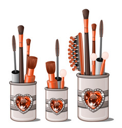 Red makeup brushes mascara comb cotton buds vector