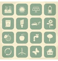 Retro ecology icon set vector image