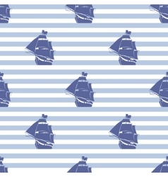 Seamless pattern with ship on striped background vector image vector image
