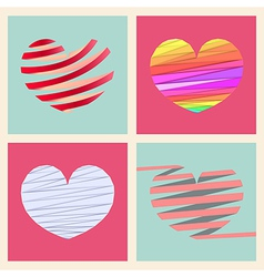 Set four heart style vector image vector image