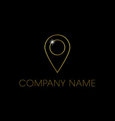 Shiny gold pin outline logo or icon with placehold vector
