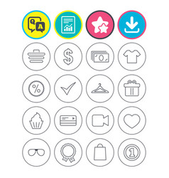 Shopping icons shirt gift box and currency vector
