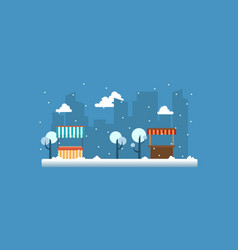 Street stall with snow landscape vector