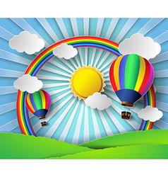 sunlight on cloud with hot air balloon vector image vector image