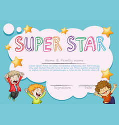 Super star award template with kids in background vector