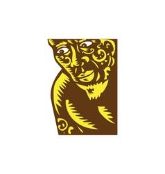 Tagaloa peeking woodcut vector