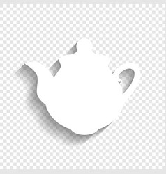 Tea maker sign white icon with soft vector