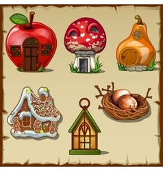 Variety gingerbread houses from a fairy tale vector