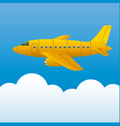 yellow plane on a background of blue sky and white vector image