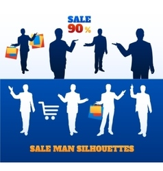 Silhouettes of men sellers with paper bags vector