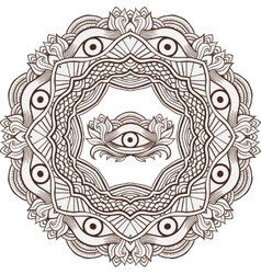 Mandala henna mehendi with the eye of providence vector